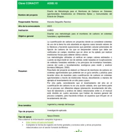 Diseño de Metodología para el Monitoreo de Carbono en Sistemas agroforestales Establecidos en Diferentes Ejidos y Comunidades del Estado de Chiapas.