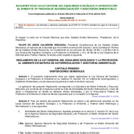 Reglamento de la Ley General del Equilibrio Ecológico y la Protección al Ambiente en materia de autorregulación y auditorías ambientales