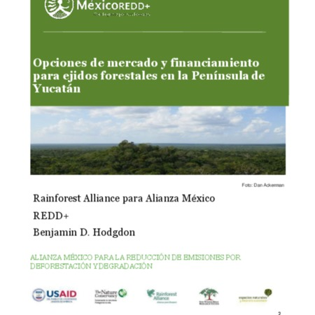 Opciones de mercado y financiamiento para ejidos forestales en la Península de Yucatán