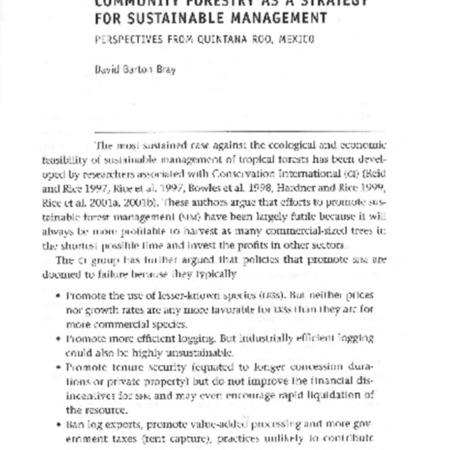 Community forestry as a strategy for sustainable management: Perspectives from Quintana Roo, Mexico