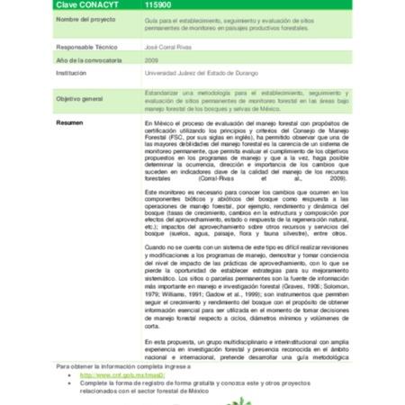 Guía para el establecimiento, seguimiento y evaluación de sitios permanentes de monitoreo en paisajes productivos forestales.