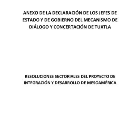 Anexo de la Declaración de los Jefes de Estado y de Gobierno del Mecanismo de Diálogo y concertación de Tuxtla