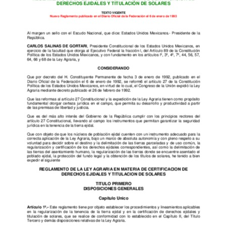Reglamento de la Ley Agraria en materia de certificación de derechos ejidales y titulación de solares